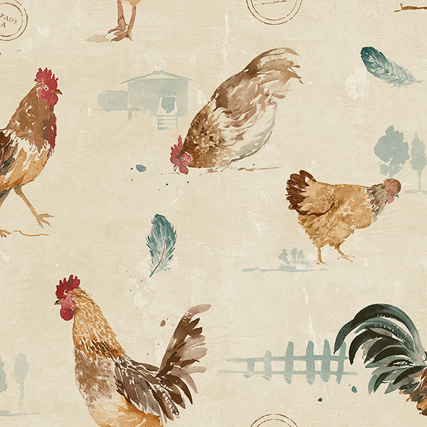 tan teal and orange roosters on beige wallcovering