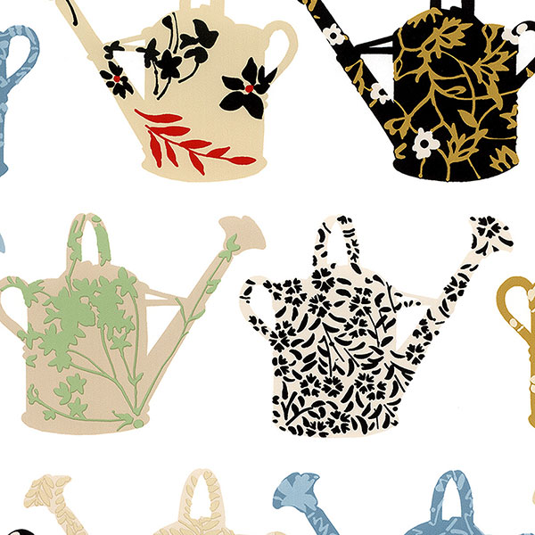 multi pattern coloured watering cans wallpaper wallcovering