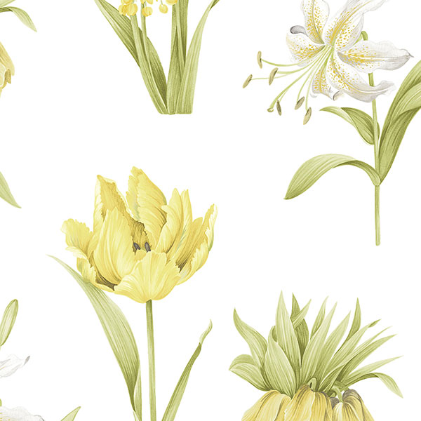 green and yellow floral on white wallcovering