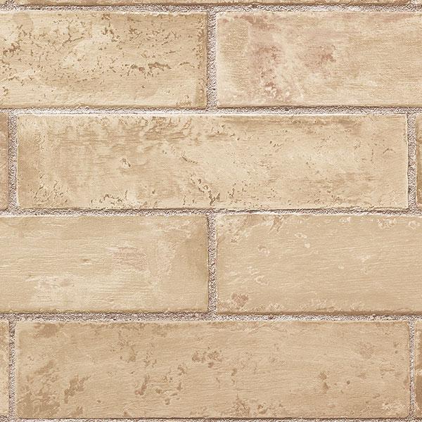 Faux beige brick wallcovering