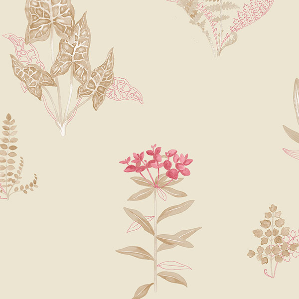 taupe and red ferns on cream wallcovering
