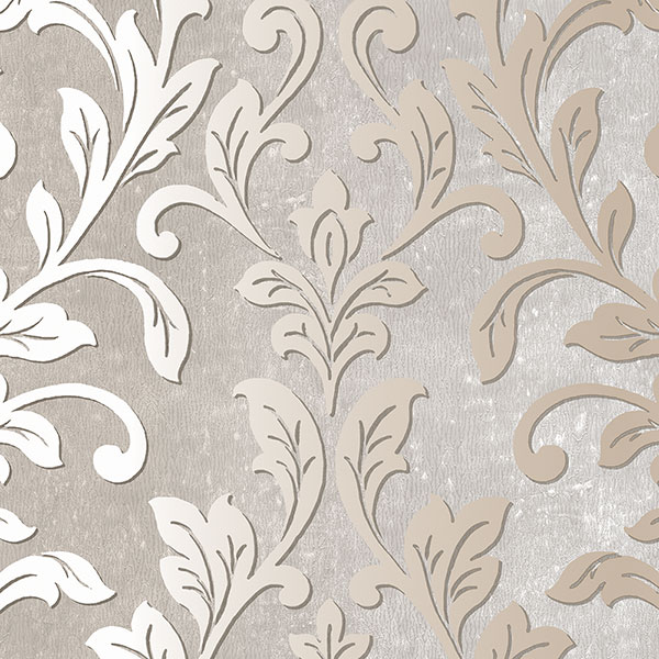 Taupe and grey leaf damask wallcovering