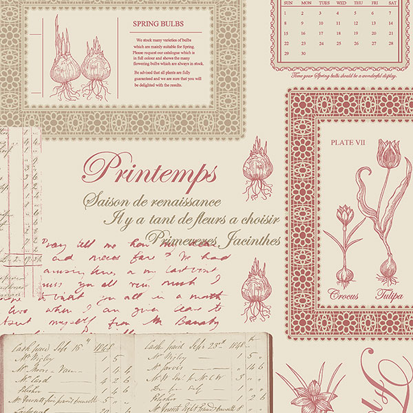 pink and green script on beige wallcovering