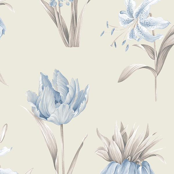 blue and grey floral on beige wallcovering