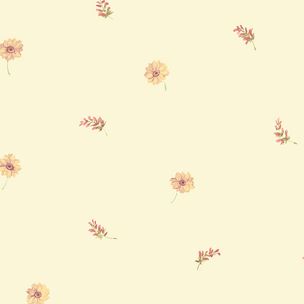mini floral toss in red and yellow wallpaper wallcovering