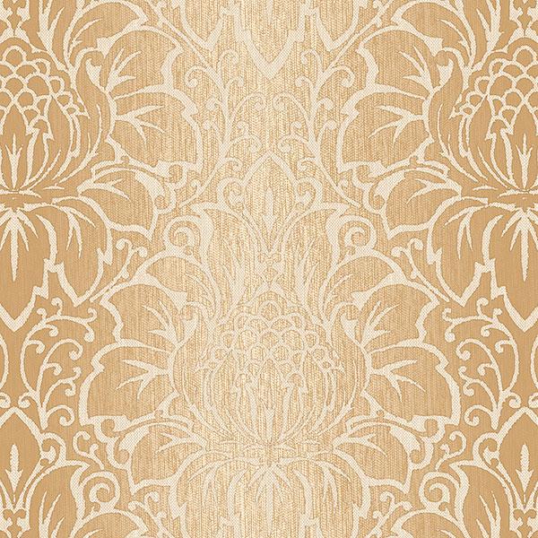 Tan and cream damask wallcovering