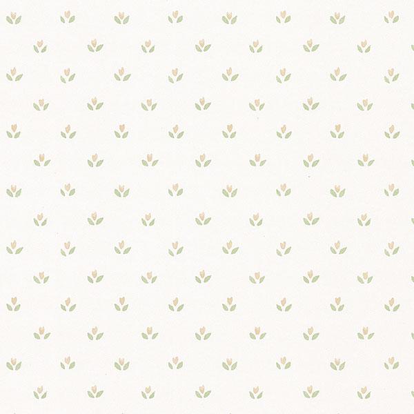 Beige flower ditty on white wallpaper