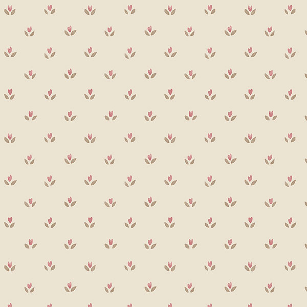 red and brown floral tullip dot on beige wallcovering