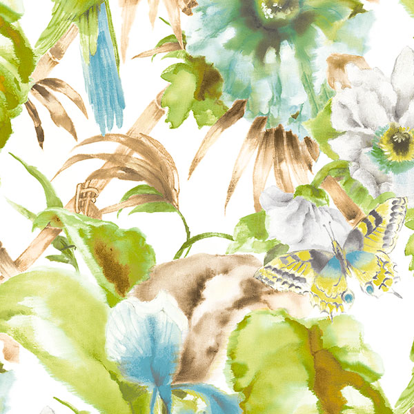aqua beige and green palm beach parrot wallcovering