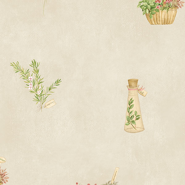 yellow red and green novelty herb on biege wallcovering