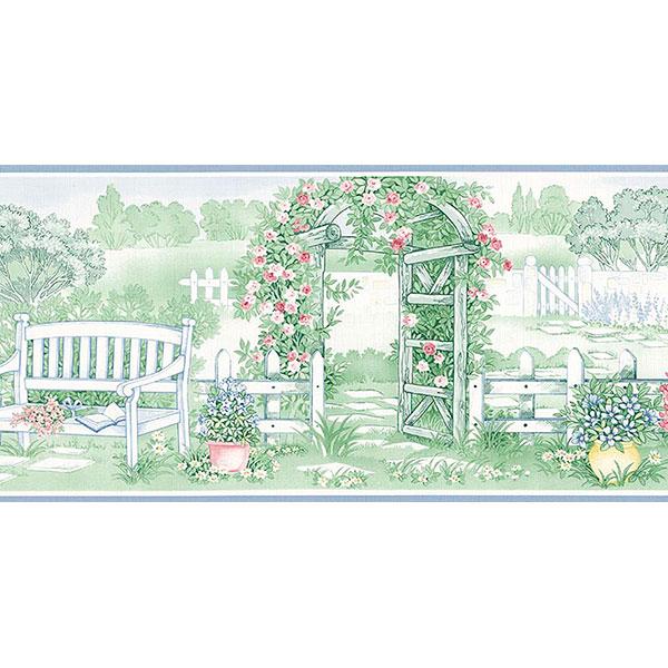 garden scene wallpaper border