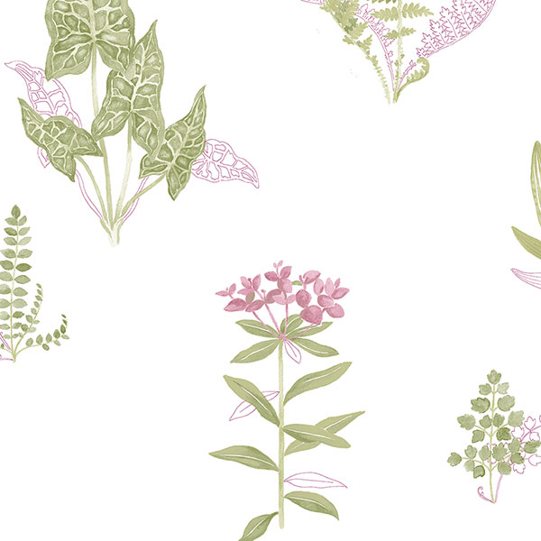 green and pink floral on white wallcovering