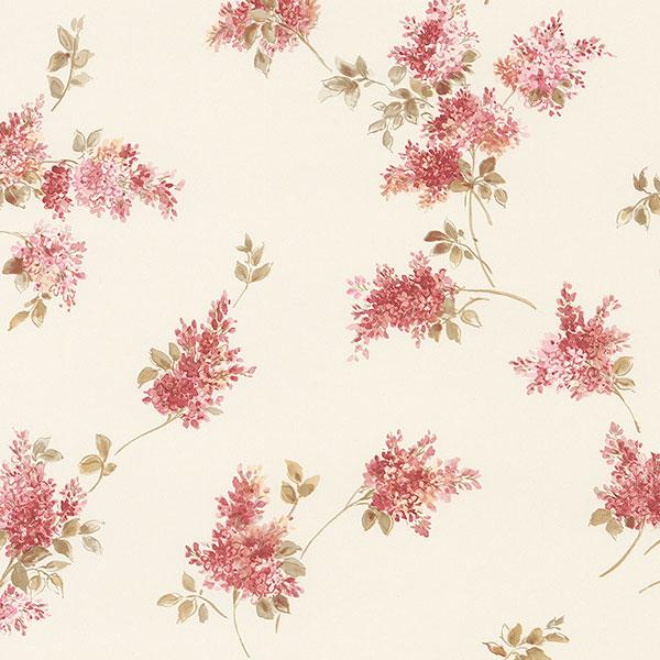 Red beige floral allover wallpaper