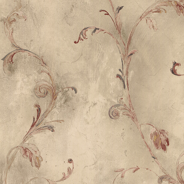 red and beige leaves and vines wallcovering