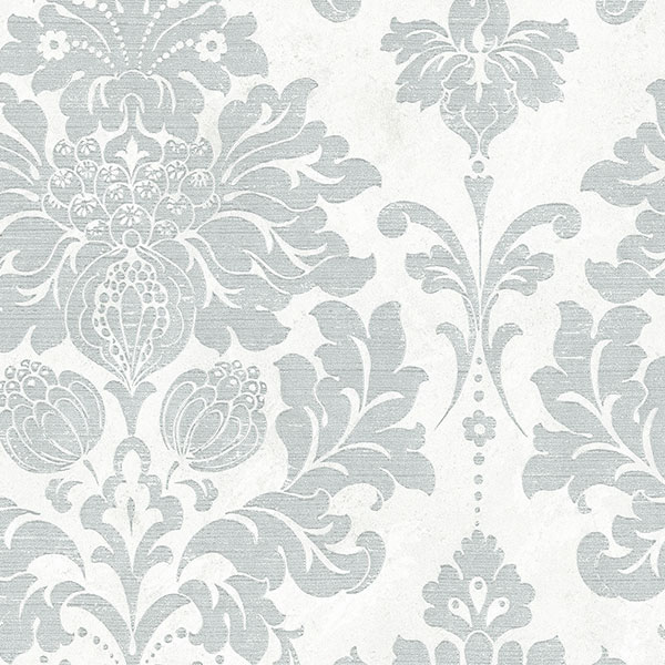 light reflective in-register damask in pearl and silver wallcovering