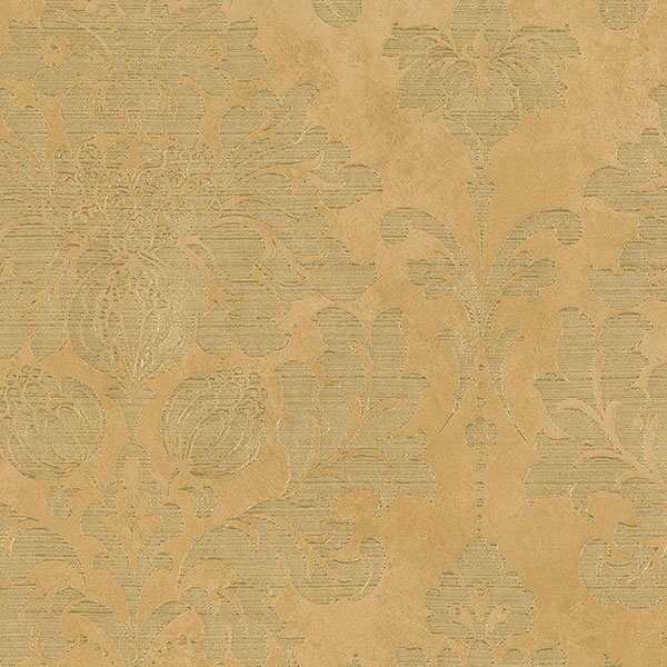 light reflective in-register damask in ochre and gold wallcovering