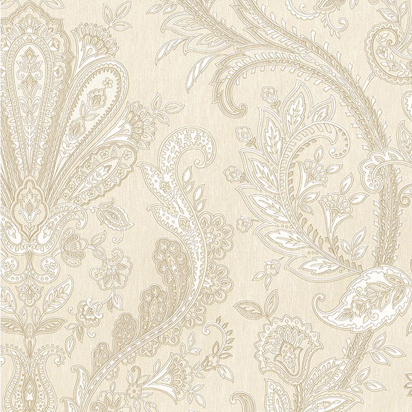 light reflective jacobean paisley in beige wallcovering