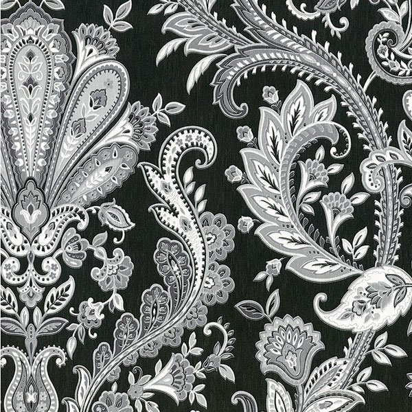 light reflective jacobean paisley in black and silver wallcovering