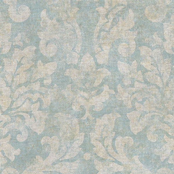 blue cream damask wallcovering