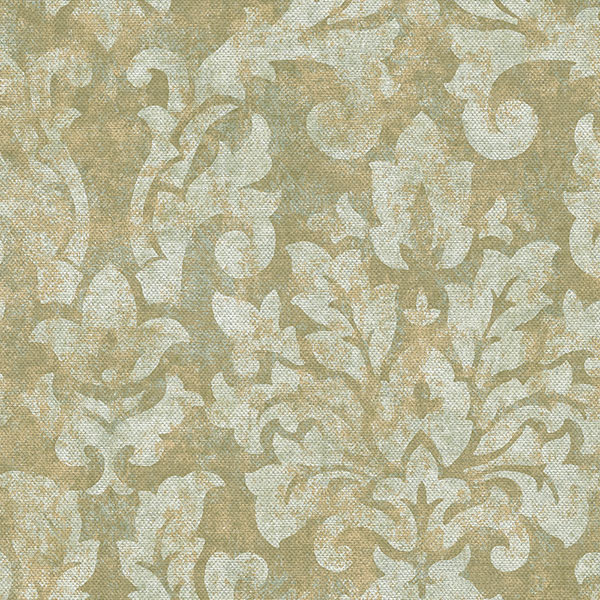 green ochre damask wallcovering
