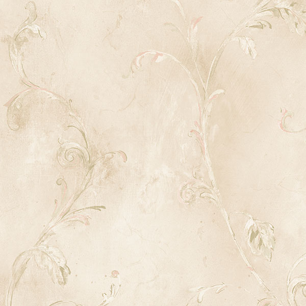 beige and green leaves and vines trail wallcovering