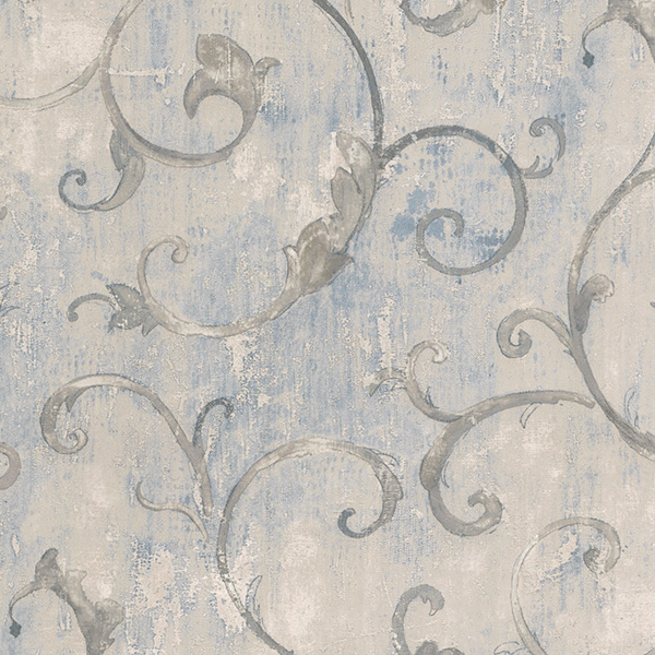 blue silver architectural wallcovering