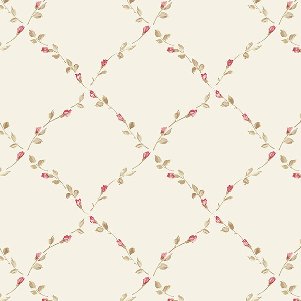 beige red and green floral trellis wallpaper wallcovering