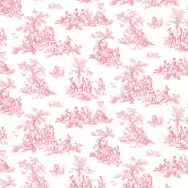 pink toile on white wallpaper wallcovering