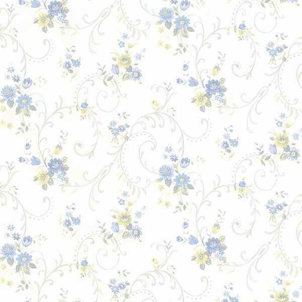 blue yellow and white floral wallpaper wallcovering