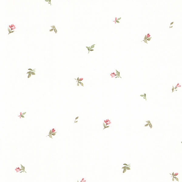 pink and green floral on white wallpaper wallcovering