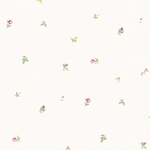 red and green floral on white wallpaper wallcovering