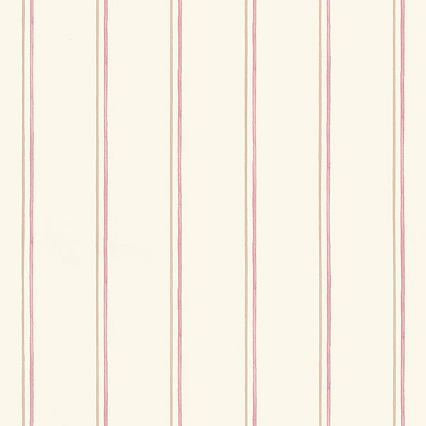 Beige red and taupe stripe wallcovering
