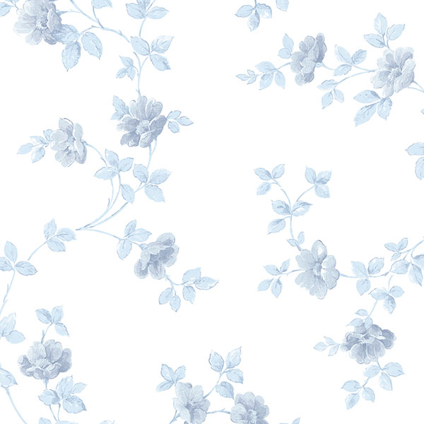 blue floral trail on white wallcovering