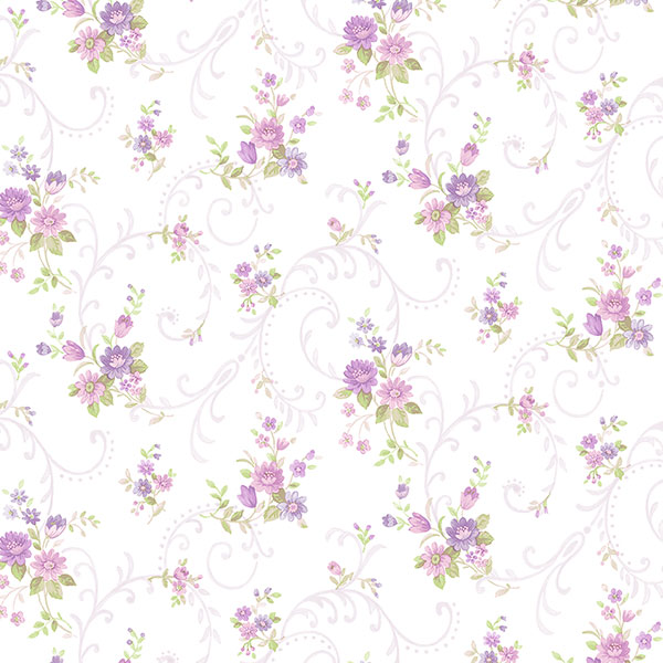 Purple and pink floral with purple filigree on white wallcovering