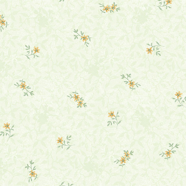 green and yellow floral wallcovering