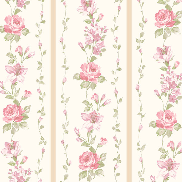 beige and pink floral stripe wallcovering