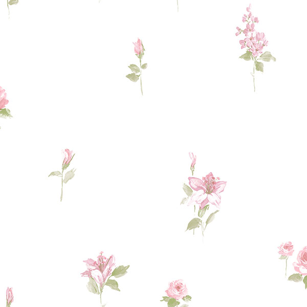 pink and green floral allover on white wallcovering