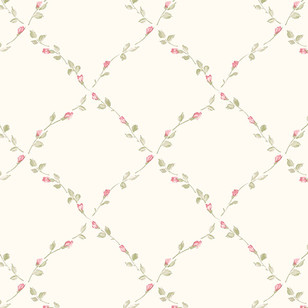 beige pink and green floral trellis wallcovering