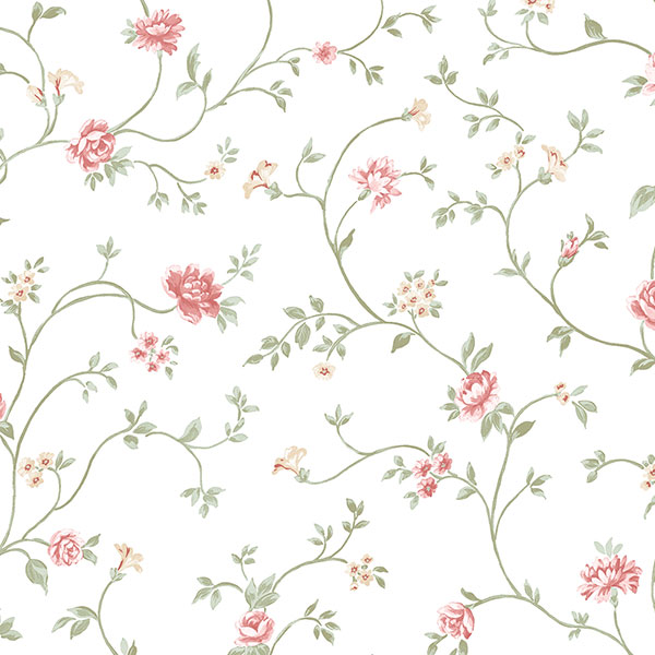 red green floral trail on white wallcovering