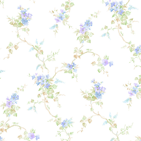 blue purple and green floral trail on white wallcovering