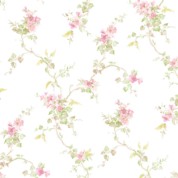 pink and green floral trail on white wallcovering