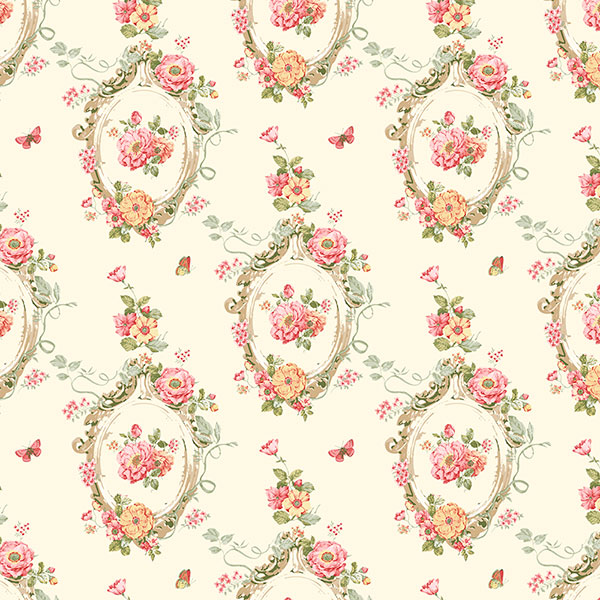 Red and green floral on light yellow wallcovering