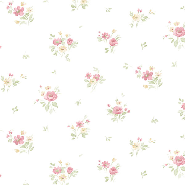red, green and yellow floral allover on white wallcovering