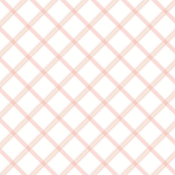pink and white trellis wallcovering
