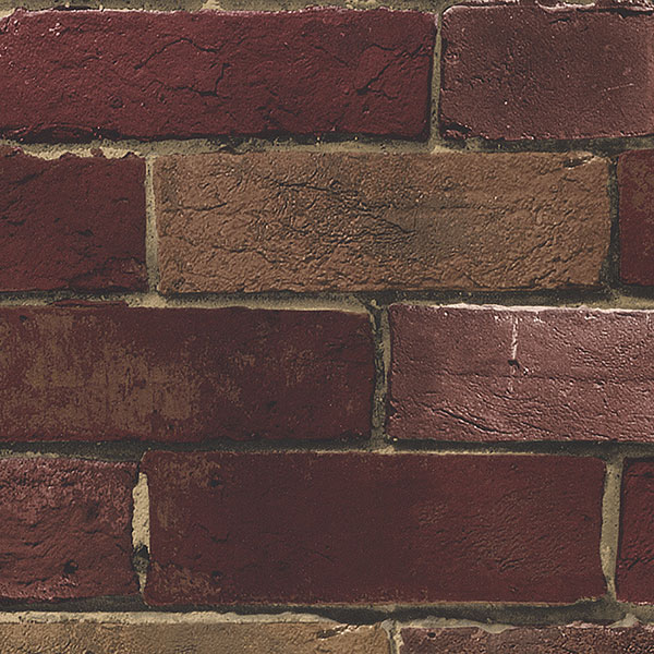 red and beige faux brick wallcovering