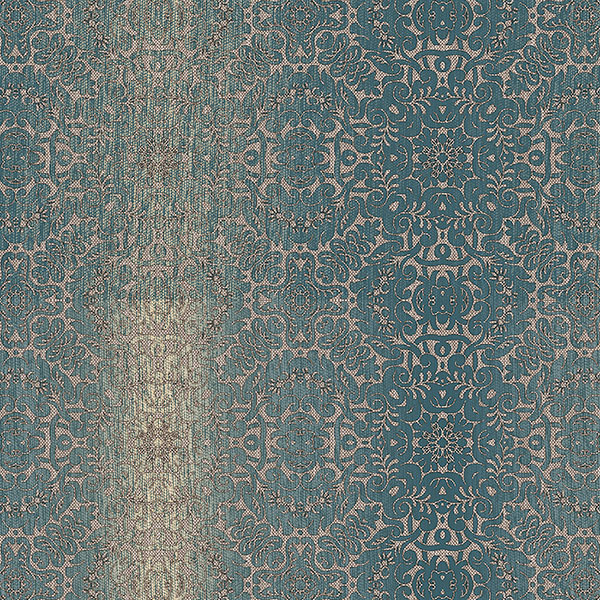 Teal and metallic gold tribal texture wallcovering