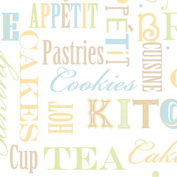 brown ochre green and blue kitchen words wallpaper wallcovering