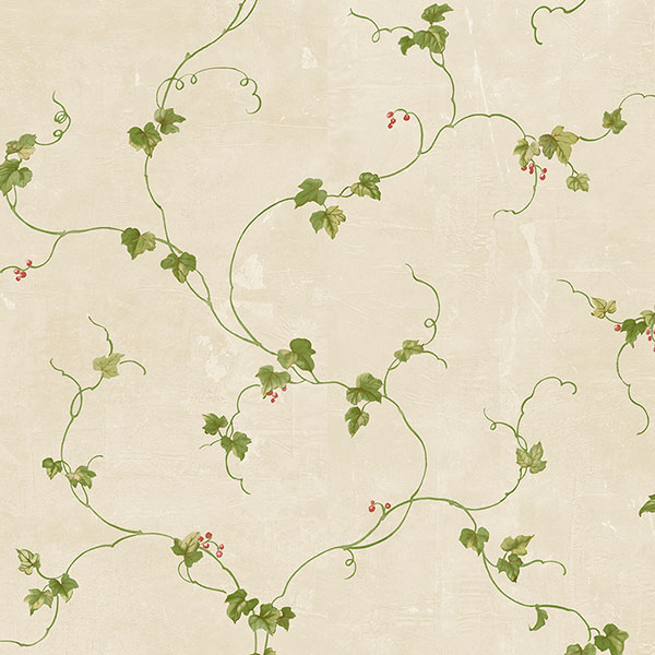 green and red small berries trail on tan wallcovering