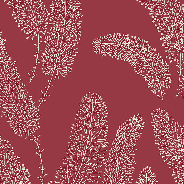 red feather like wallcovering