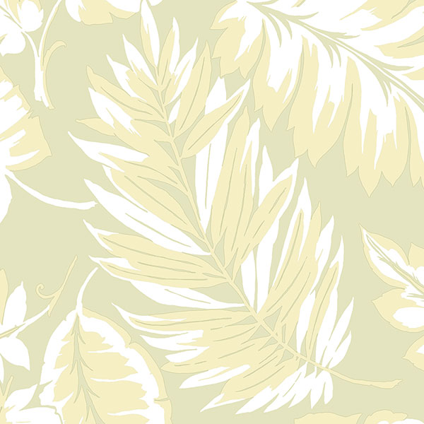 green palm leaves wallcovering